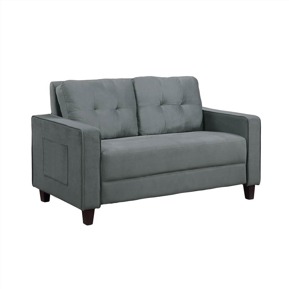 Canapé sectionnel rembourré en velours Orisfur 2 place avec dossier ergonomique et pieds en bois pour salon, chambre à coucher, bureau, appartement - gris