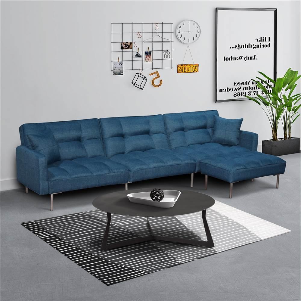 リビングルーム、ベッドルーム、オフィス、アパート用の4つの枕とリバーシブルオットマンを備えた2人掛けポリエステルファブリックコンビネーションソファベッド-ブルー