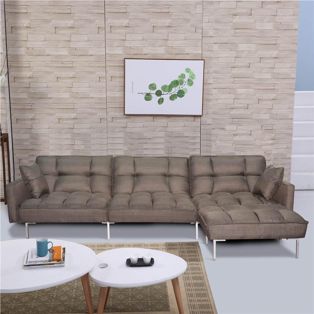 Canapé-lit en tissu polyester 4 places avec 2 oreillers et pouf réversible pour salon, chambre, bureau, appartement - Marron