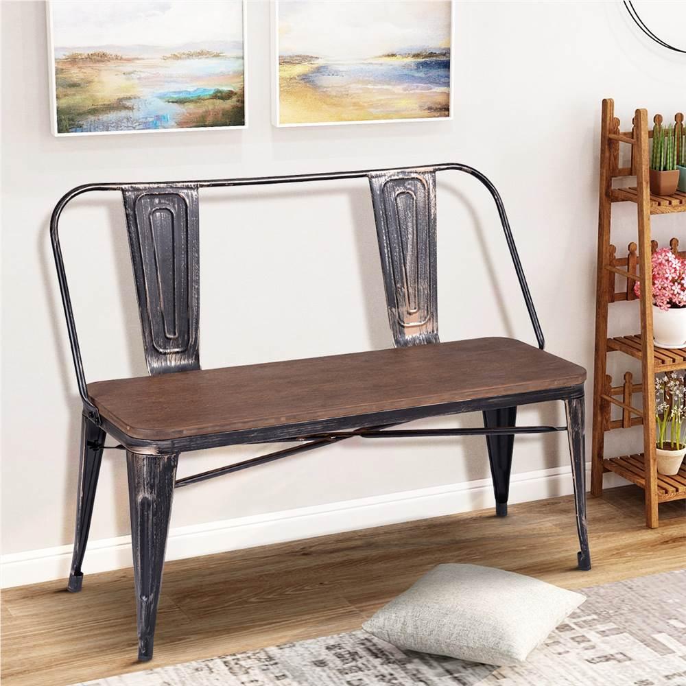 TREXM banc de salle à manger en détresse de style vintage rustique avec panneau de siège en bois et dossier et pieds en métal pour cuisine, salon, café, salle de réception - marron