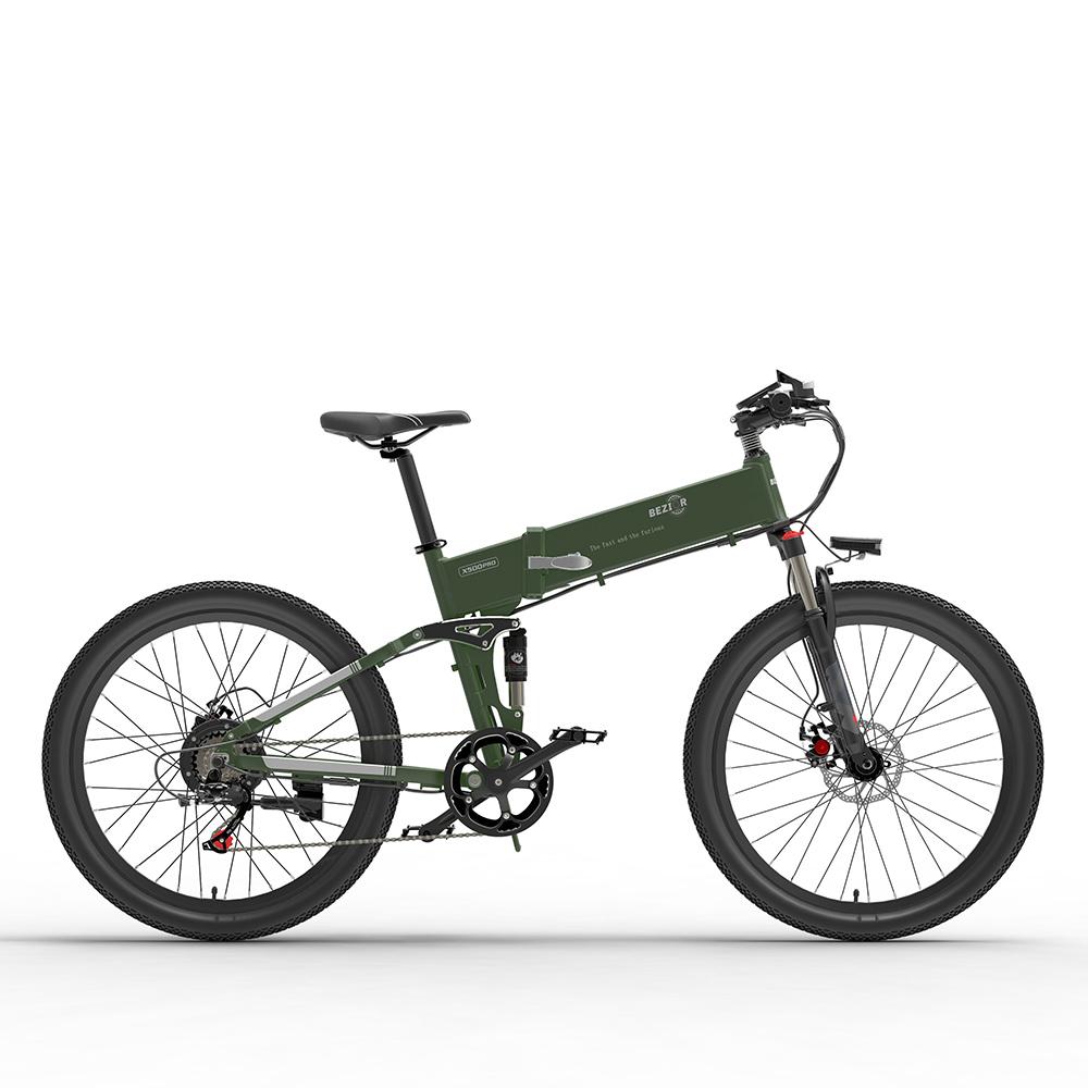 BEZIOR X500 Pro Πτυσσόμενο Ηλεκτρικό Ποδήλατο Ποδήλατο 48V 10.4Ah Μπαταρία 500W Κινητήρας 26 ιντσών Ελαστικό Πλαίσιο κράματος αλουμινίου Shimano 7 ταχυτήτων Shift Max Speed 30km / h 100KM Ισχύς υποβοηθούμενης χιλιομέτρου Εύρος LCD Οθόνη IP54 αδιάβροχη - Μαύρο