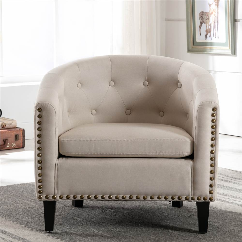 1-Seat Linen Sofa with Wooden Frame and Curved Backrest for Living Room, Bedroom, Office, Apartment - Beige
