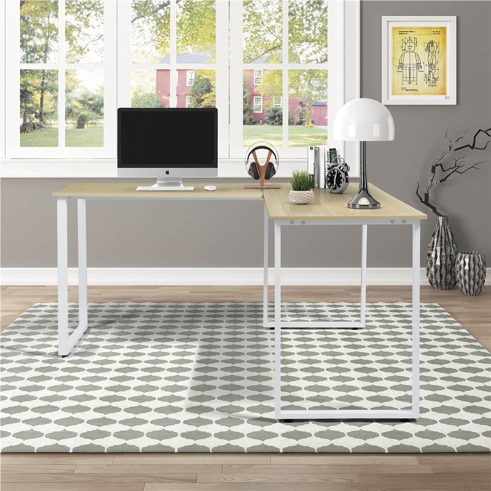 Bureau d'ordinateur en bois d'angle en forme de L pour bureau à domicile avec cadre en métal - blanc