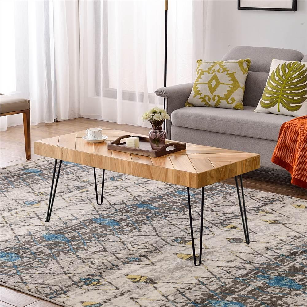 TREXM長方形の光沢仕上げの木製コーヒーテーブル、シェブロンパターンと金属製ヘアピンレッグ、キッチン、レストラン、オフィス、リビングルーム、カフェ-オーク