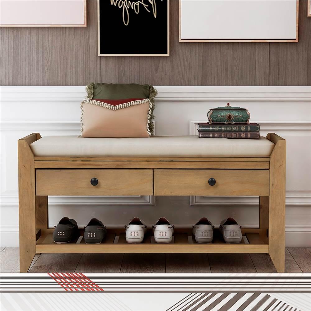 Banc de console TREXM de 39 po avec 2 tiroirs de rangement et étagère à chaussures en filet, pour couloir d'entrée, salle à manger, chambre à coucher - vieux pin
