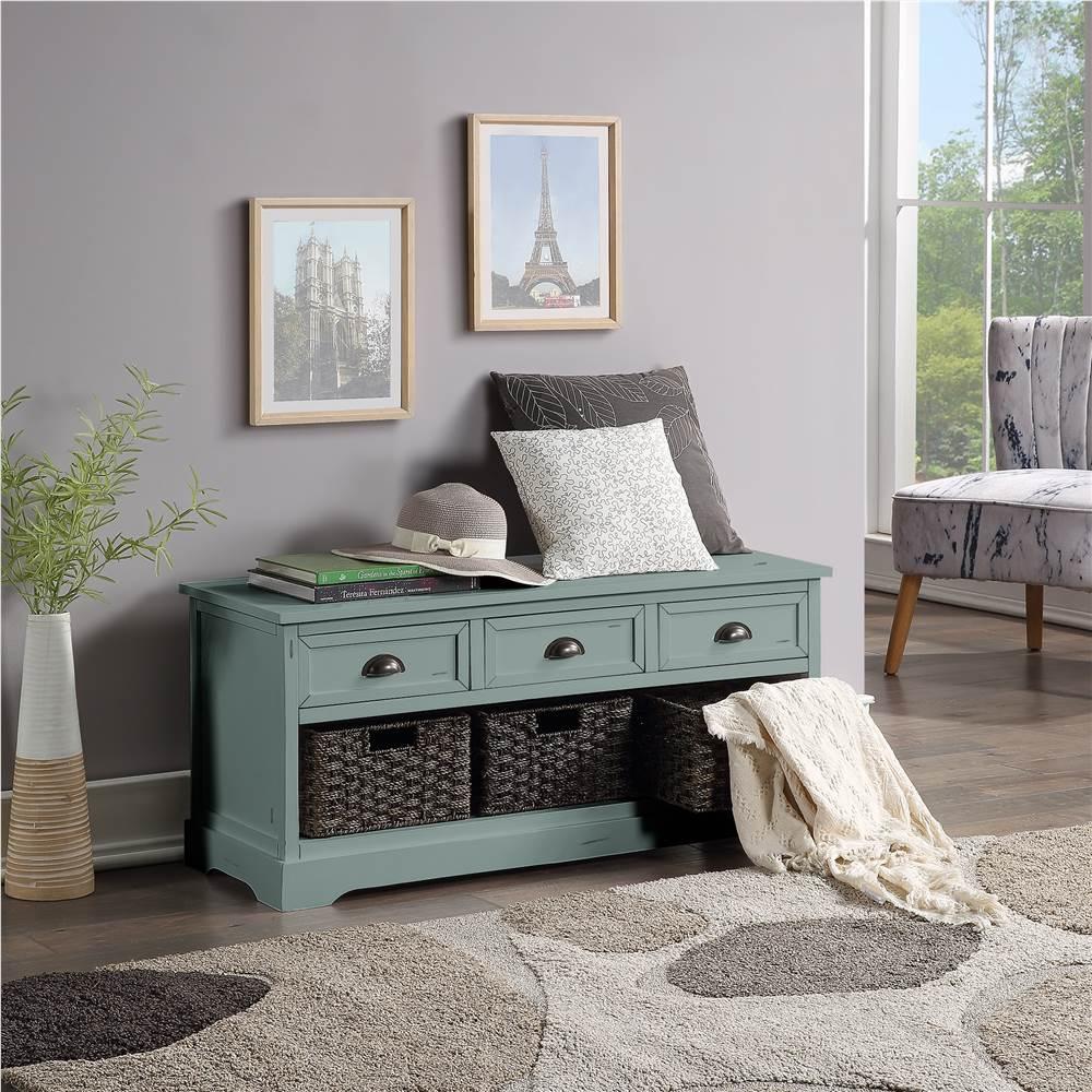 """Table console en bois de 19 """"U-STYLE avec 3 tiroirs et 3 paniers tissés, pour le couloir d'entrée, la salle à manger et la chambre à coucher - Vert"""