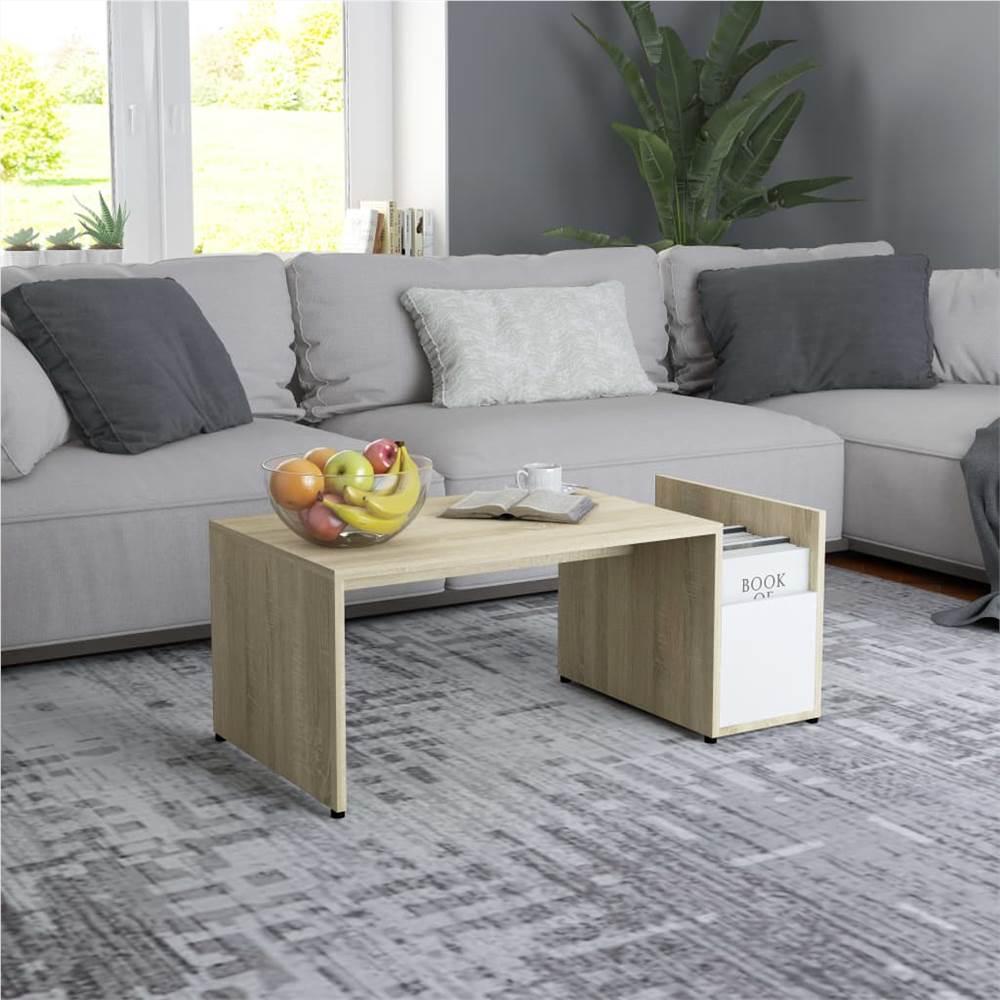 Couchtisch Weiß und Sonoma Eiche 90x45x35 cm Spanplatte