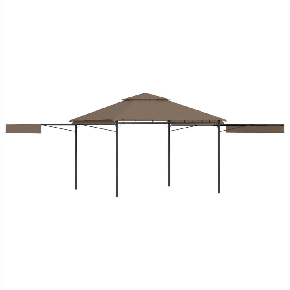 Pavillon mit doppelt ausziehbaren Dächern 3x3x2.75 m Taupe 180g / m²