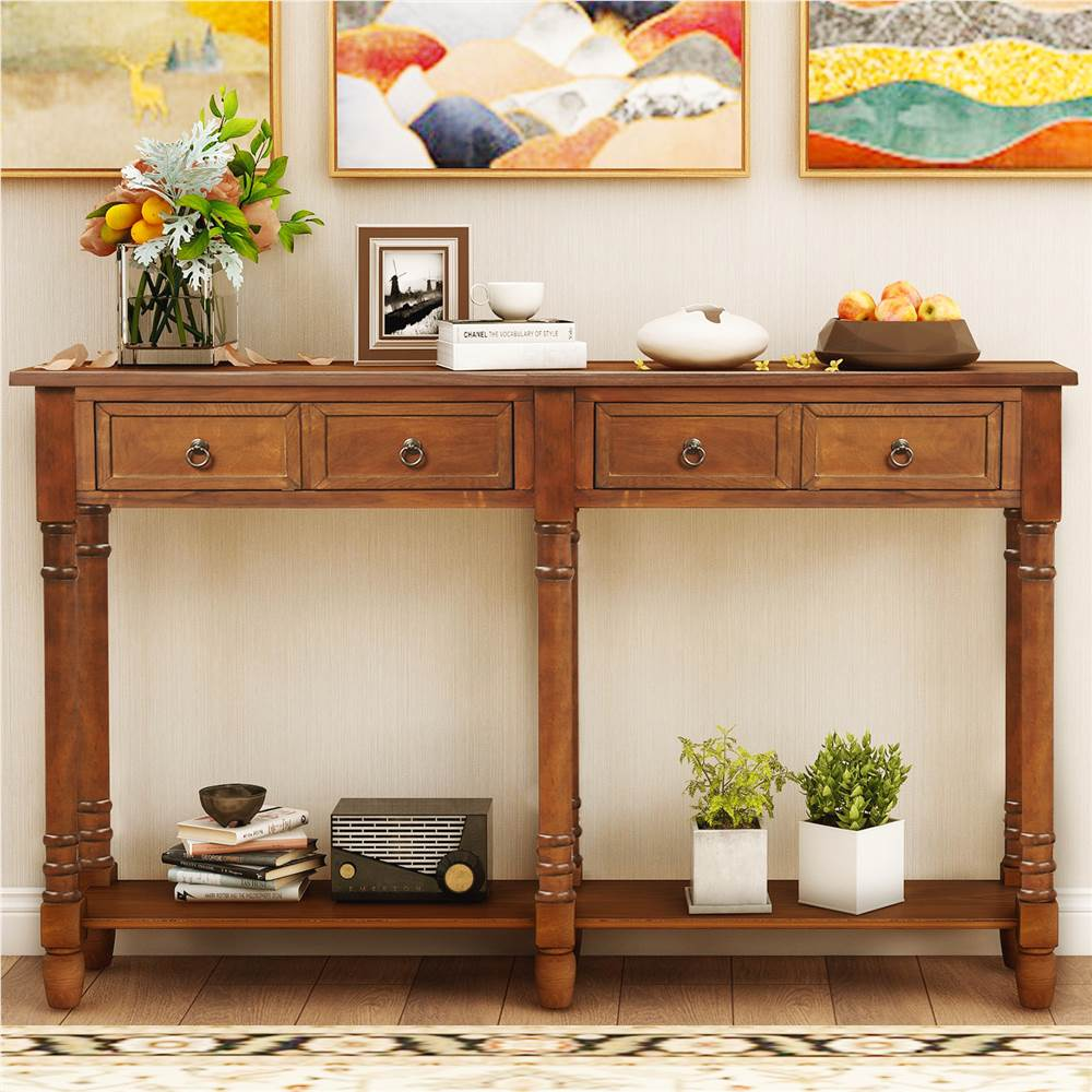 Trexm 58 Console Table With 2 Storage, Console Table With Storage Bins