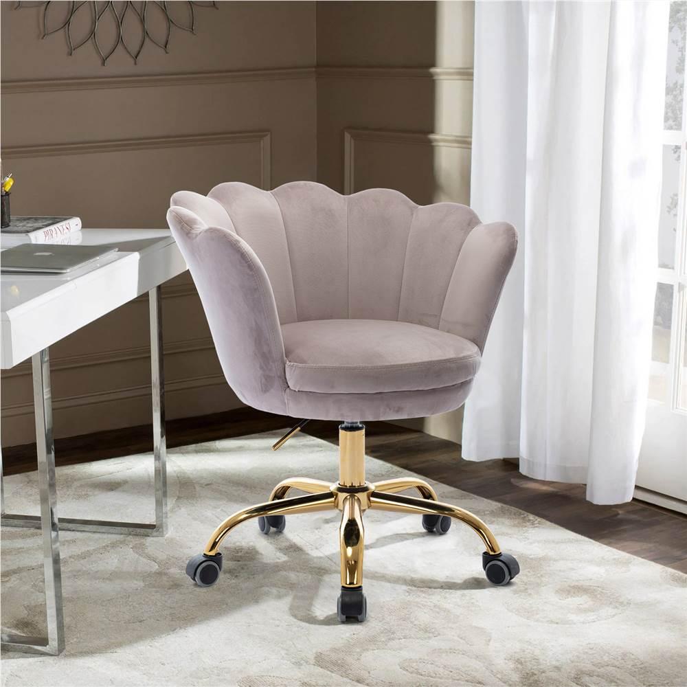 COOLMORE Chaise rotative en velours réglable en hauteur avec dossier incurvé et roulettes pour salon, chambre, salle à manger, bureau - Gris