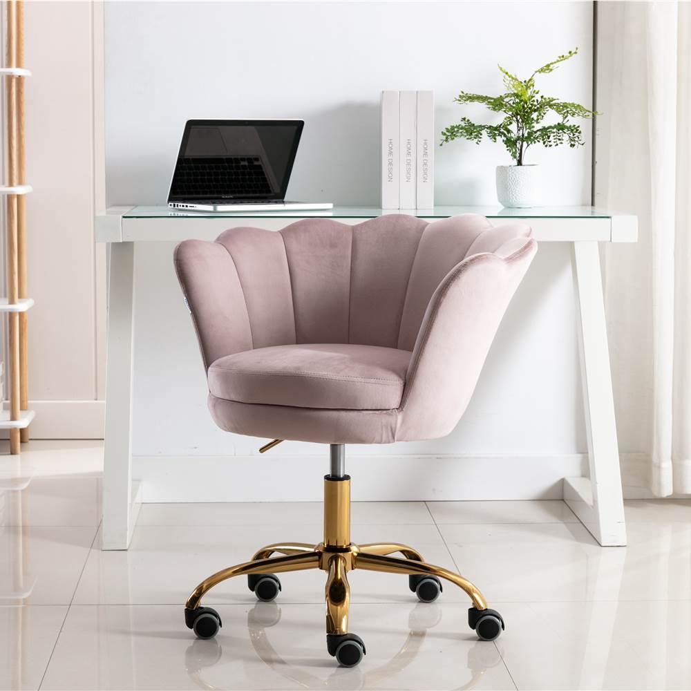 COOLMORE Chaise rotative en velours réglable en hauteur avec dossier incurvé et roulettes pour salon, chambre, salle à manger, bureau - Cerisier