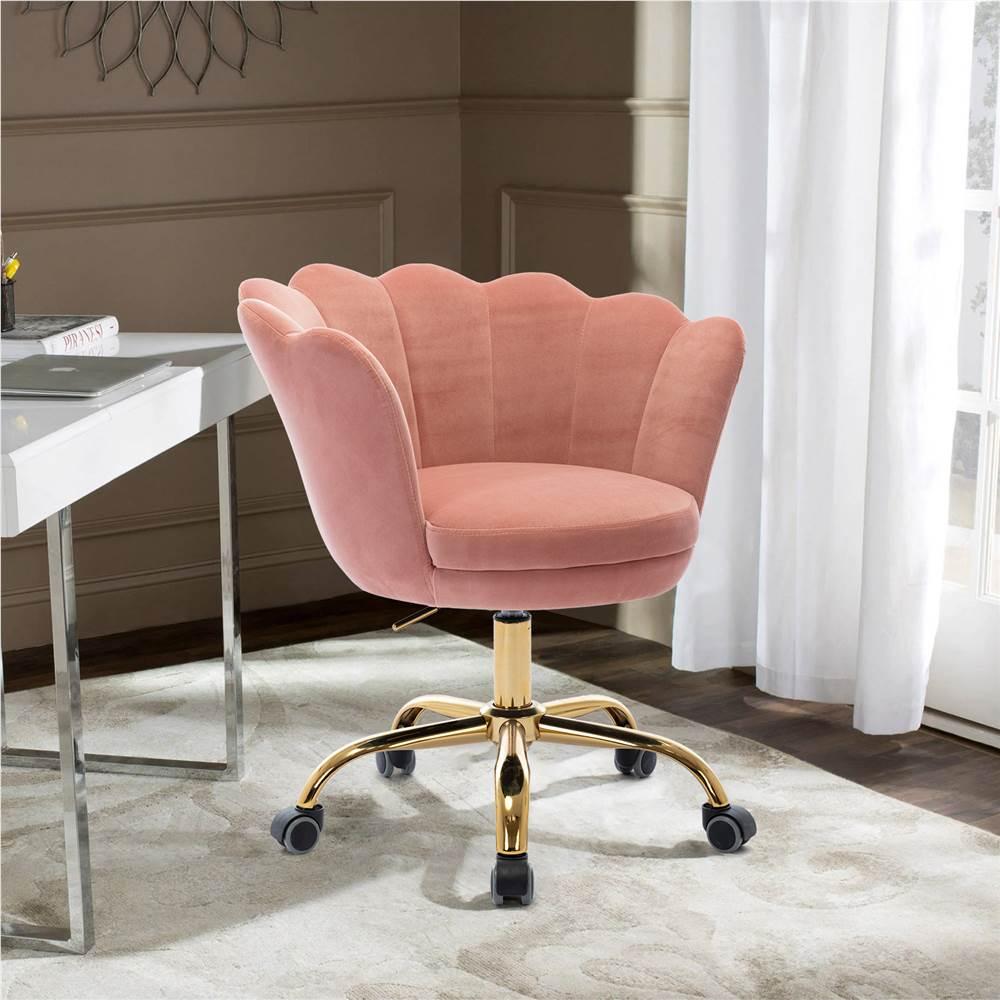 COOLMORE Chaise rotative en velours réglable en hauteur avec dossier incurvé et roulettes pour salon, chambre, salle à manger, bureau - Rose