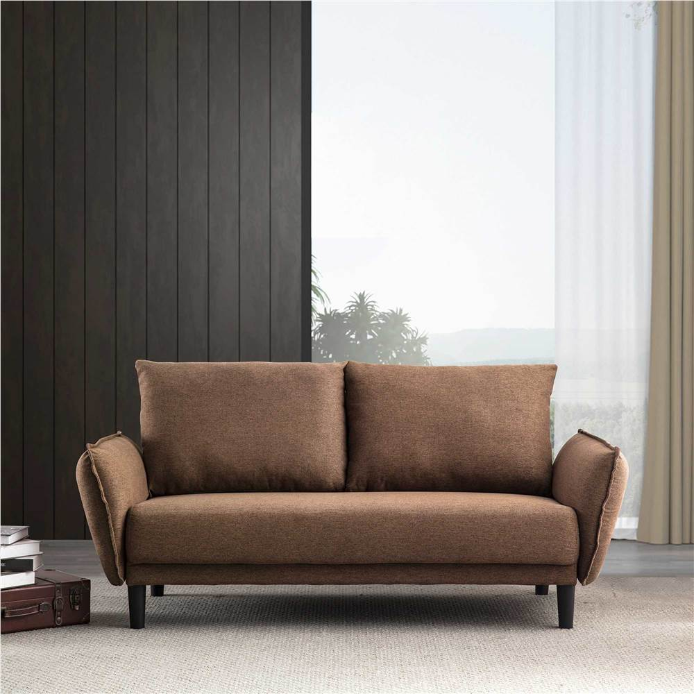 Canapé 2 places rembourré en tissu polyester, avec 2 coussins de dossier lâches et pieds en plastique, pour salon, chambre à coucher, bureau, appartement - Marron