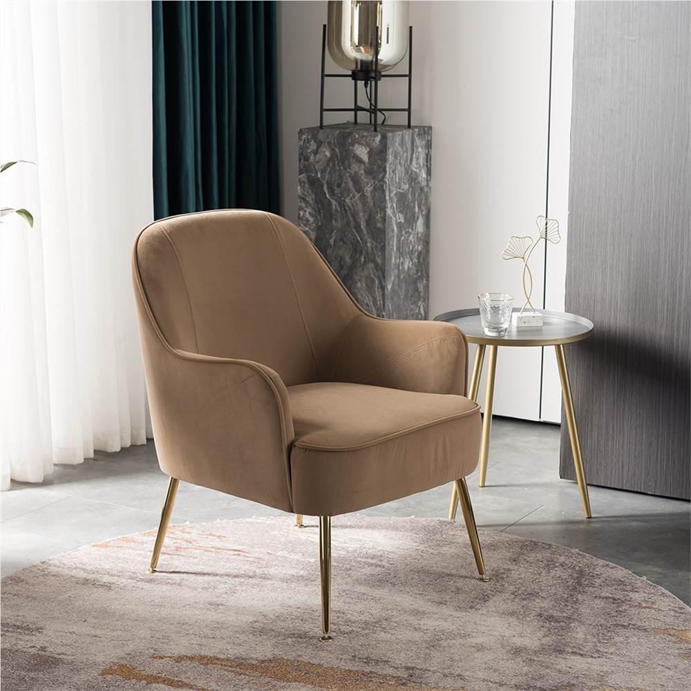 Chaise rembourrée en velours avec dossier incurvé et pieds métalliques réglables, pour salon, chambre, salle à manger, bureau - marron