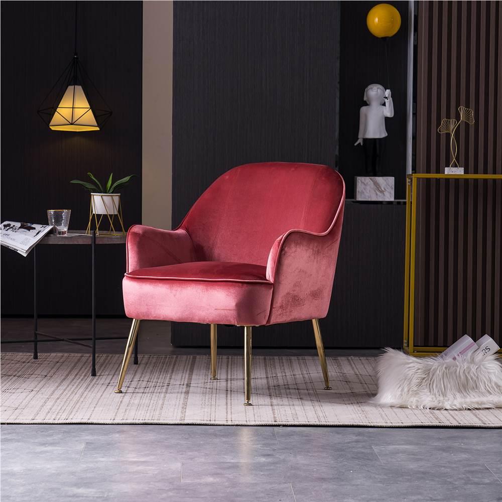 Chaise rembourrée en velours avec dossier incurvé et pieds métalliques réglables, pour salon, chambre, salle à manger, bureau - Rouge
