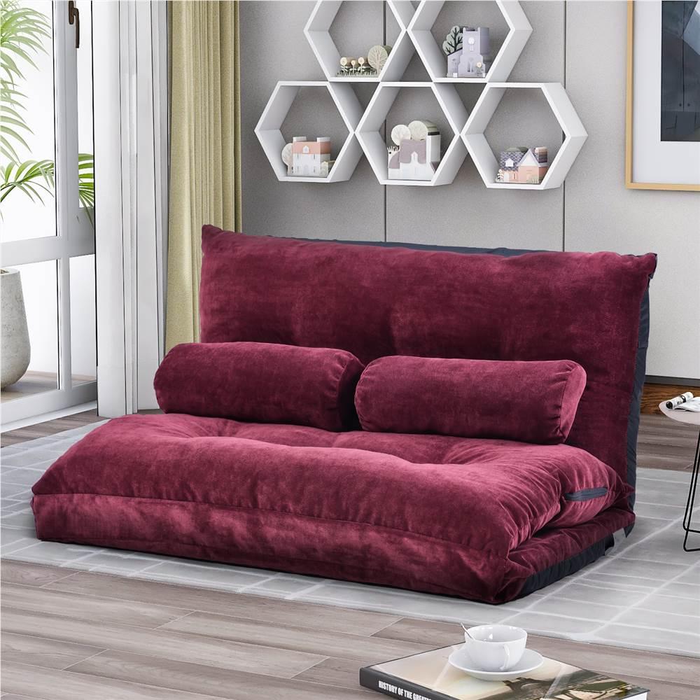 Canapé-lit Orisfur en tissu polyester avec 2 oreillers et structure en acier, pour salon, chambre, bureau, appartement - Rouge