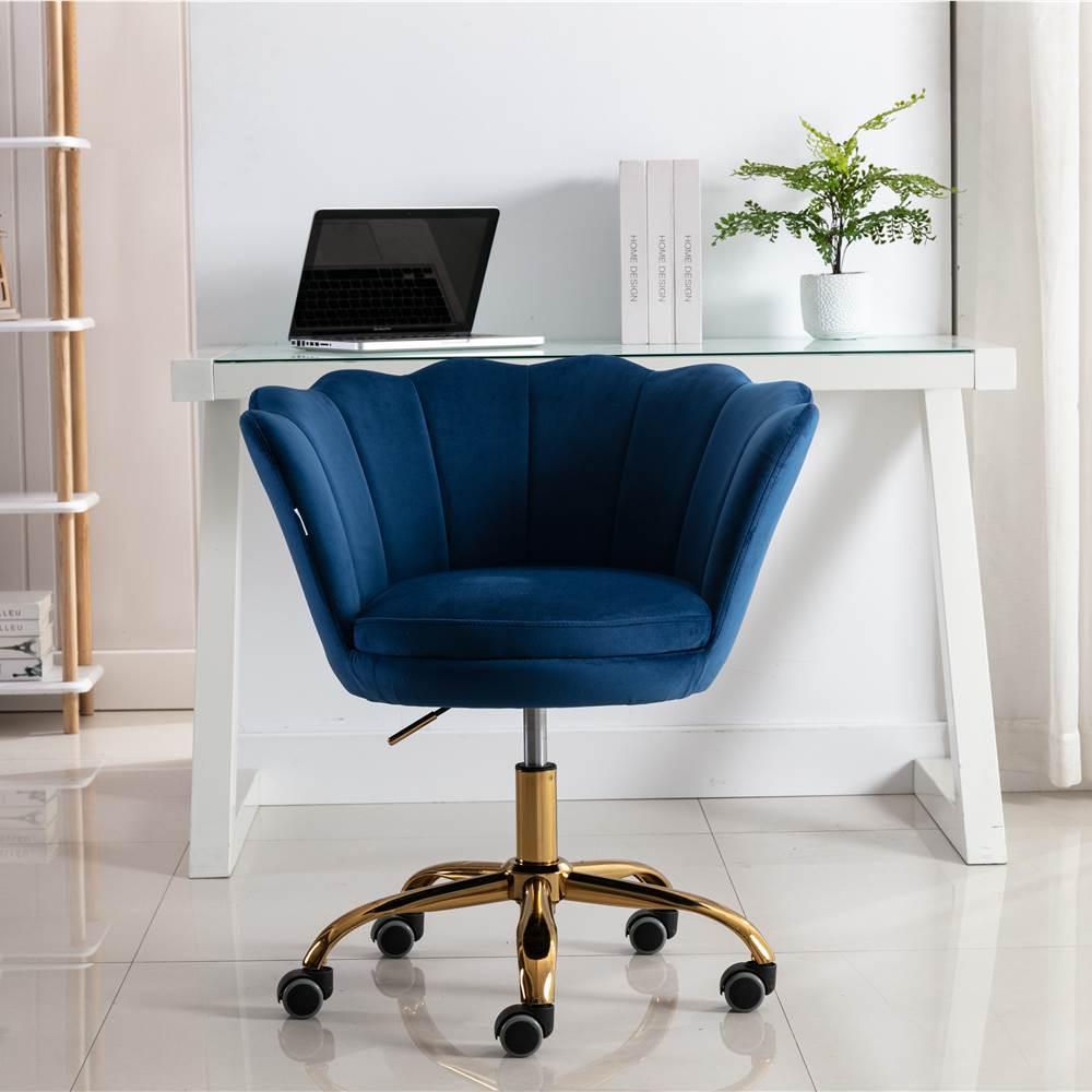 COOLMORE Chaise rotative en velours réglable en hauteur avec dossier incurvé et roulettes pour salon, chambre, salle à manger, bureau - Bleu
