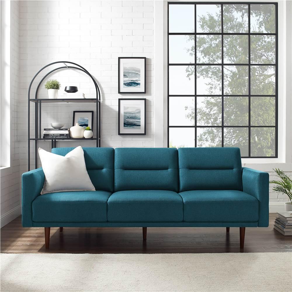 Canapé 3 places rembourré en tissu polyester, avec dossier ergonomique et pieds en bois en caoutchouc haut, pour salon, chambre à coucher, bureau, appartement - Vert