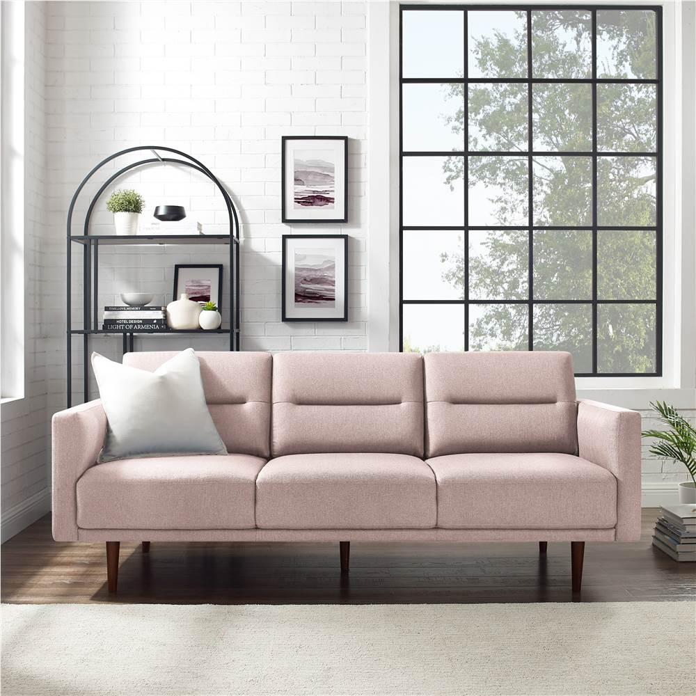 Canapé 3 places rembourré en tissu polyester, avec dossier ergonomique et pieds en bois en caoutchouc haut, pour salon, chambre à coucher, bureau, appartement - Rose