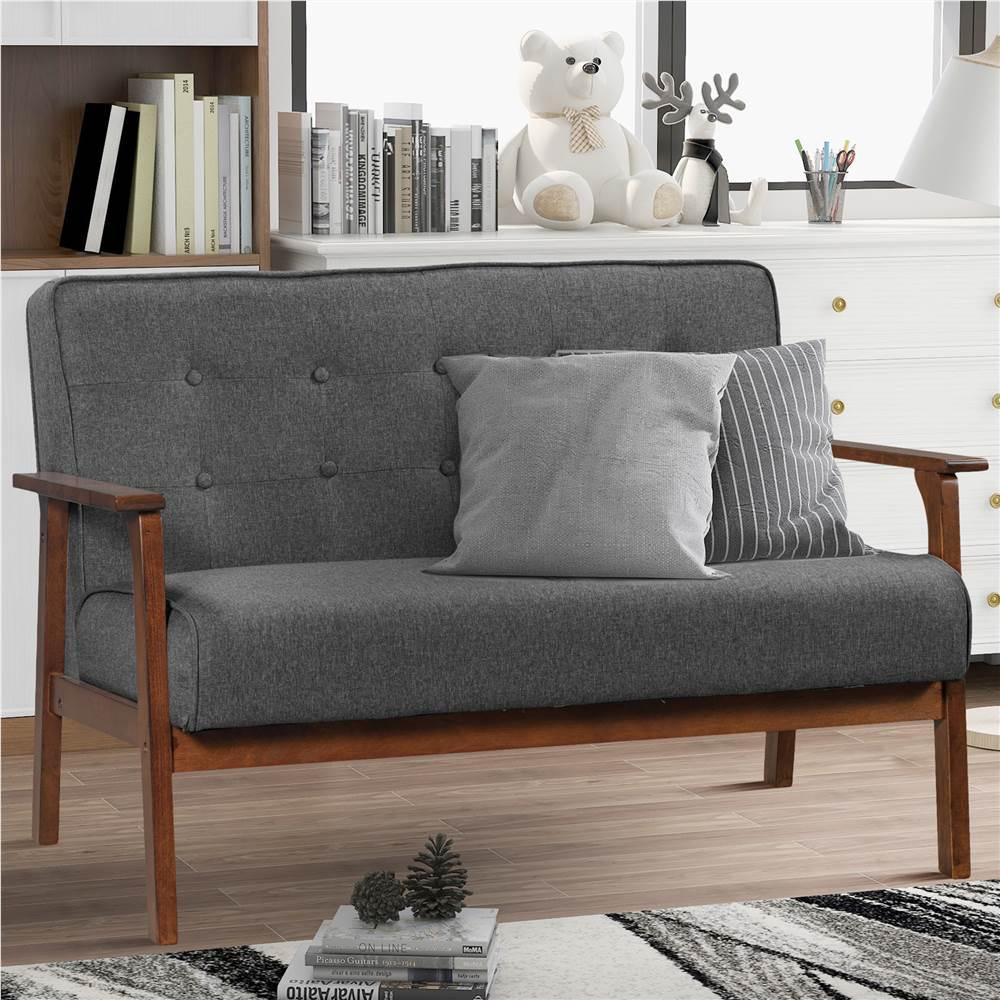 Canapé Orisfur 2 places en tissu de lin mélangé moderne, avec cadre et dossier en bois massif, pour salon, chambre, bureau, appartement - Gris