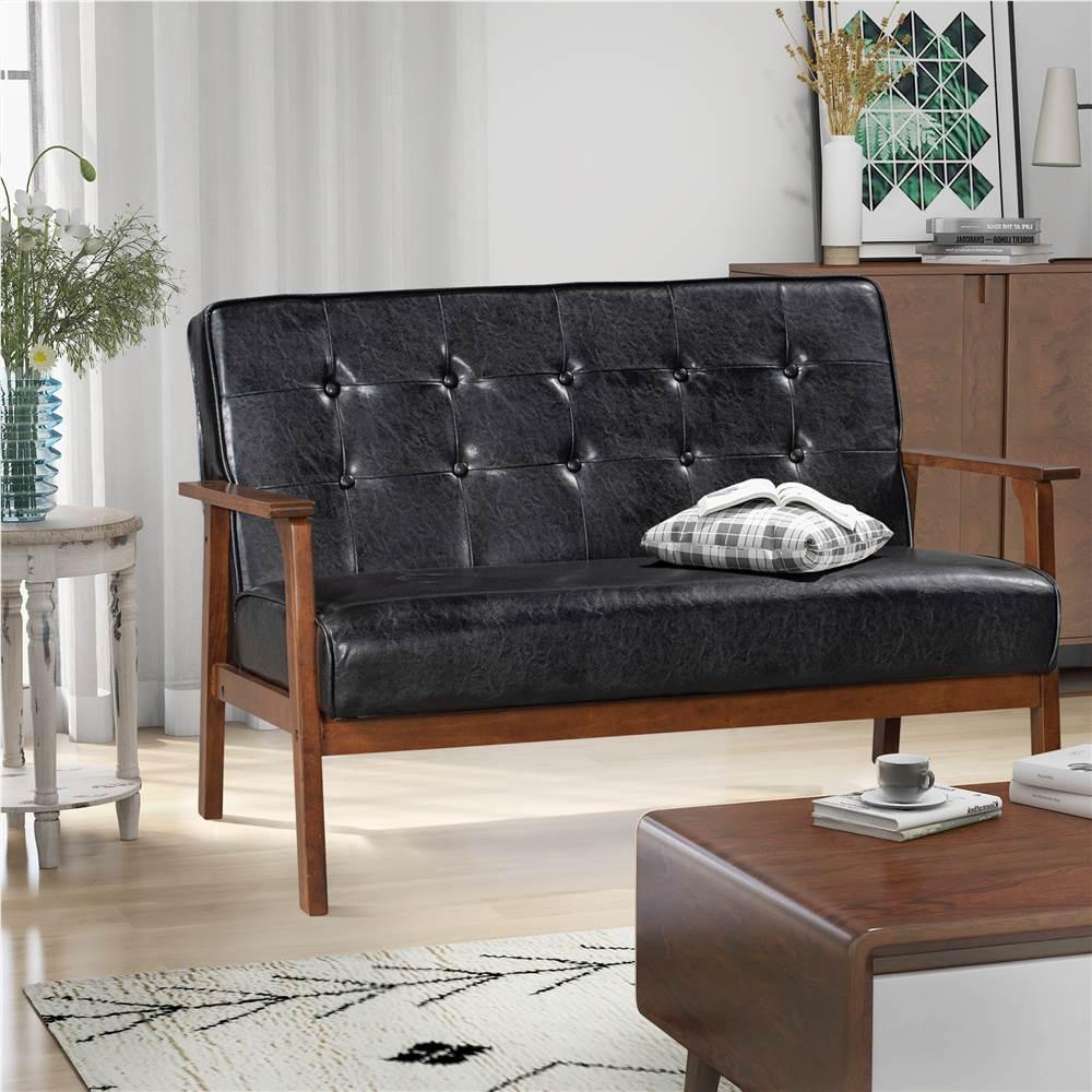 Canapé moderne en cuir PU Orisfur 2 places, avec cadre et dossier en bois massif, pour salon, chambre, bureau, appartement - Noir