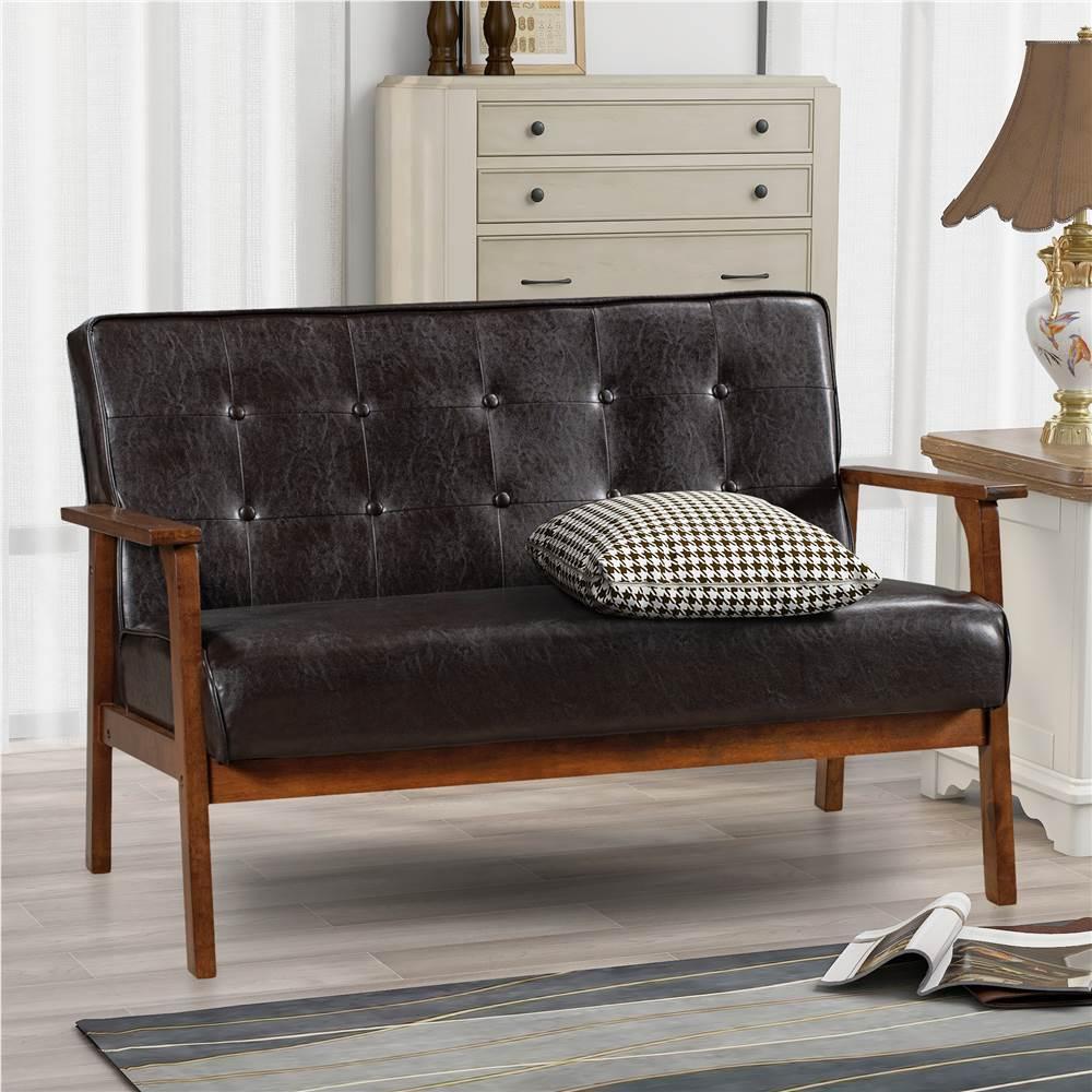 Canapé moderne en cuir PU à 2 places Orisfur, avec cadre et dossier en bois massif, pour salon, chambre, bureau, appartement - marron