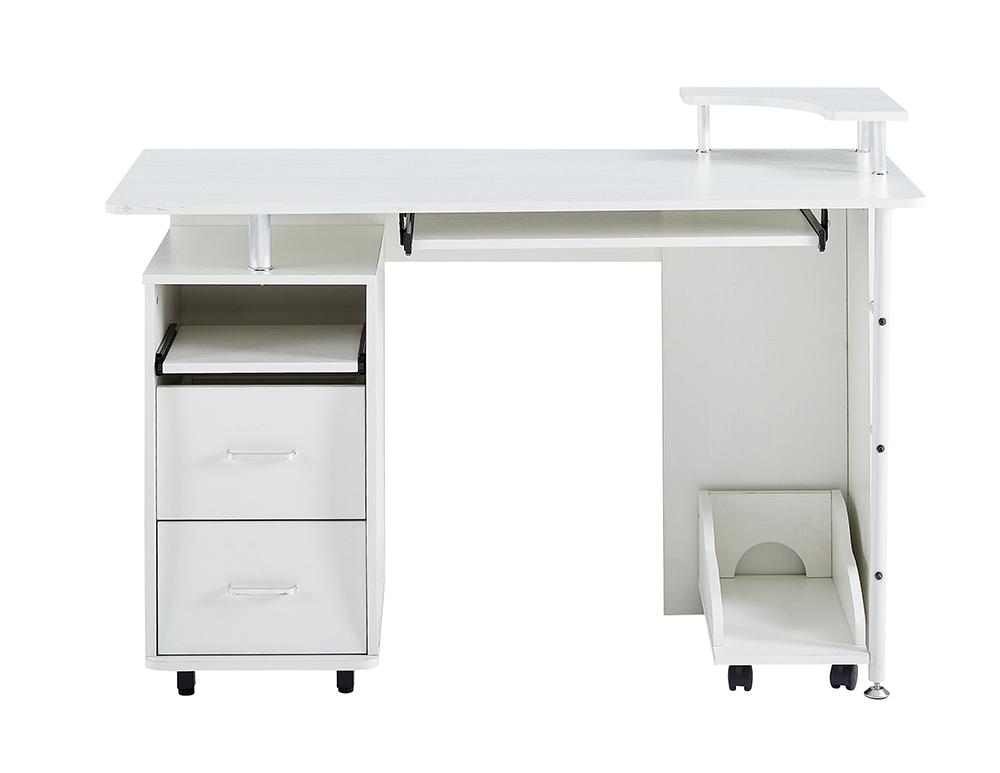 Bureau à domicile D&N Bureau d'ordinateur en bois massif avec 2 tiroirs de rangement et plateau CPU - Blanc