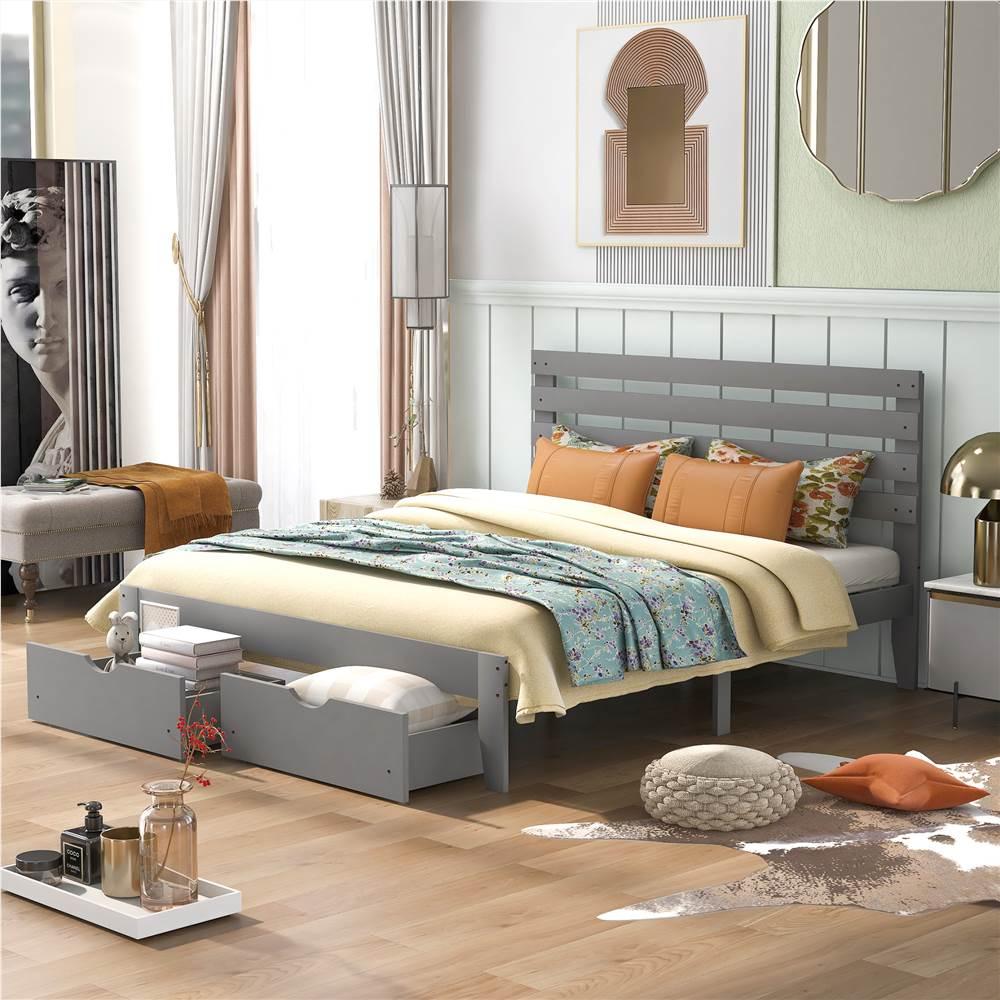 Cadre de lit plateforme en bois Queen Size avec 2 tiroirs de rangement - Gris