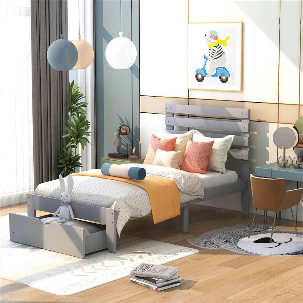 Cadre de lit plateforme simple en bois avec 2 tiroirs de rangement - Gris