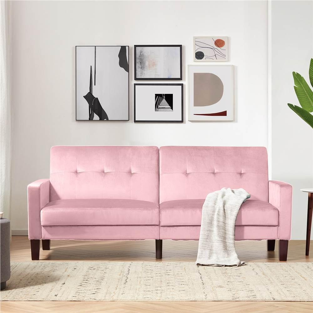 Canapé-lit Orisfur 2 places rembourré en velours avec dossier réglable et cadre en bois, pour salon, chambre, bureau, appartement - Rose