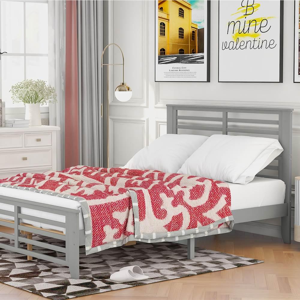 Cadre de lit plateforme en bois pleine grandeur avec bande horizontale de forme creuse et support de lattes en bois - Gris