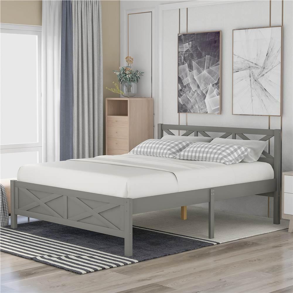 Cadre de lit plateforme en bois pleine grandeur avec pieds hauts et lattes en bois - Gris