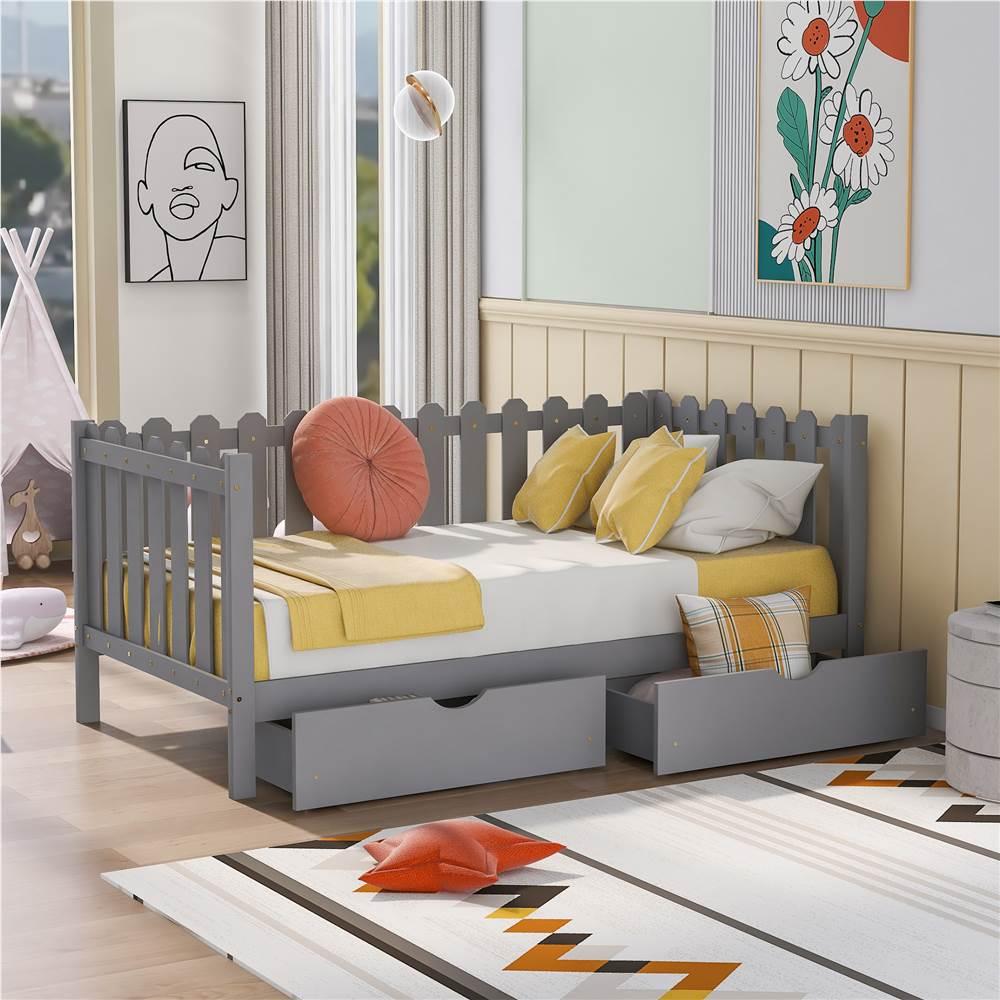 Cadre de lit plateforme simple en bois de style rustique avec 2 tiroirs de rangement et clôture en bois - Gris