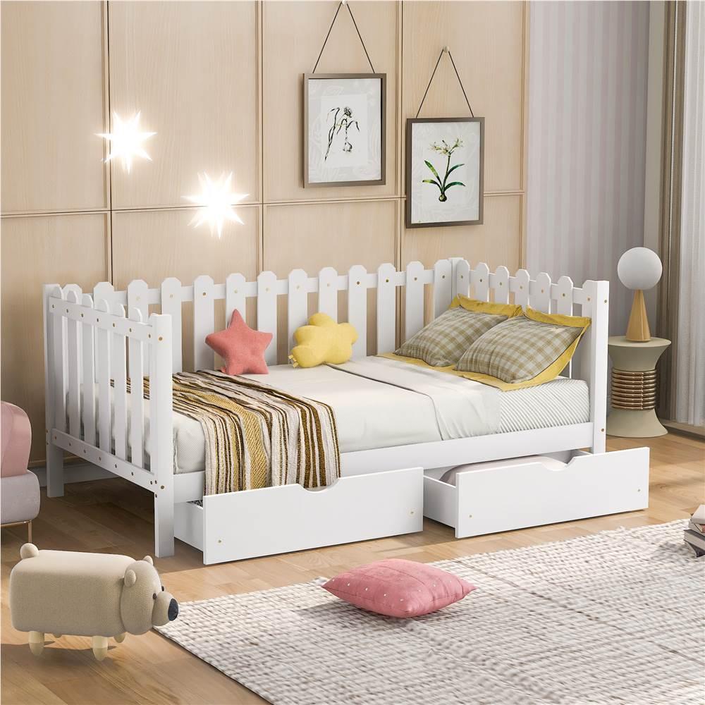 Cadre de lit plateforme simple en bois de style rustique avec 2 tiroirs de rangement et clôture en bois - Blanc