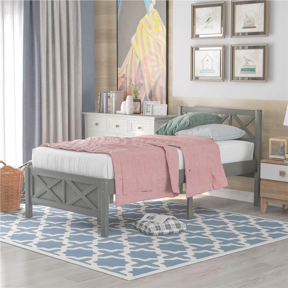 Cadre de lit plateforme en bois simple avec pieds hauts et lattes en bois - Gris