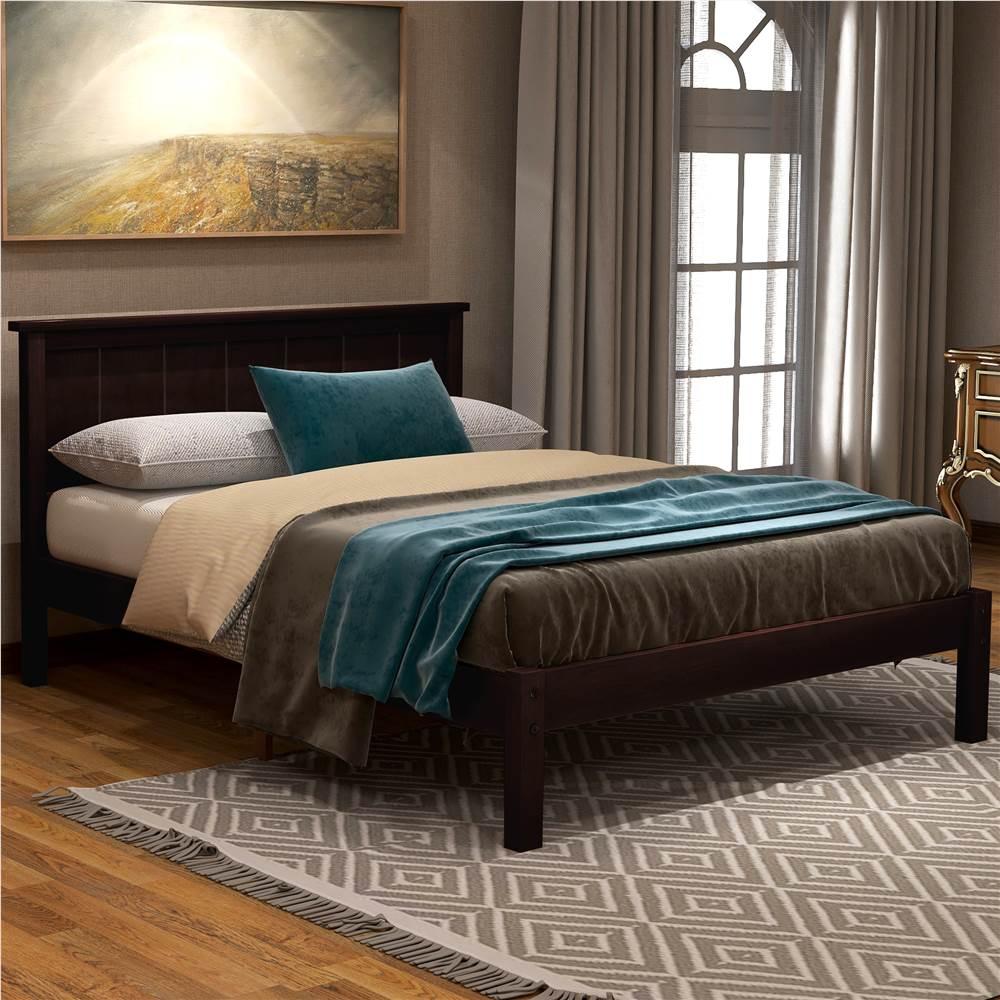 Cadre de lit plateforme en bois simple avec tête de lit et support de lattes en bois - Espresso