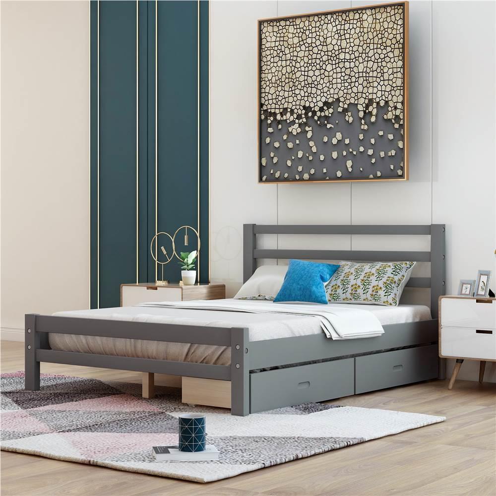 Cadre de lit plateforme en bois pleine grandeur avec 2 tiroirs de rangement et support à lattes en bois - Gris