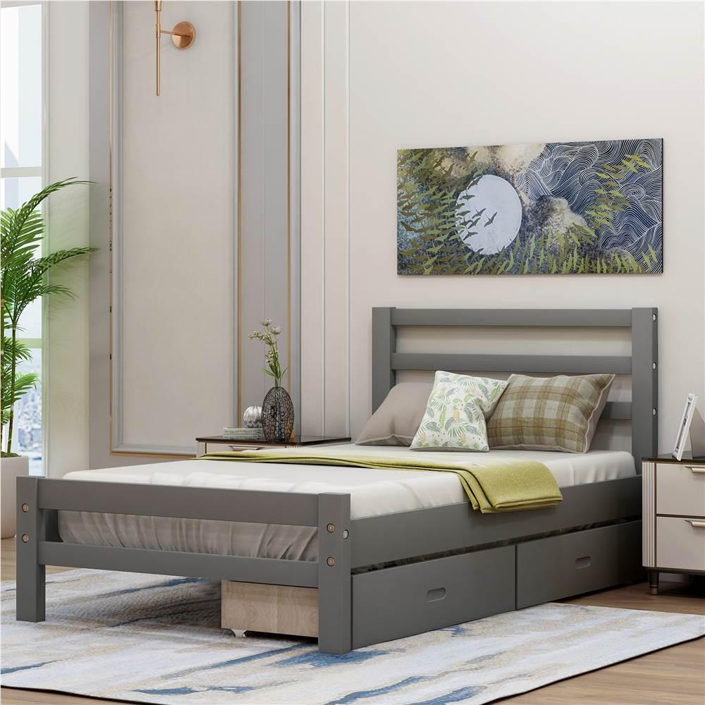 Cadre de lit plateforme en bois simple avec 2 tiroirs de rangement et support à lattes en bois - Gris