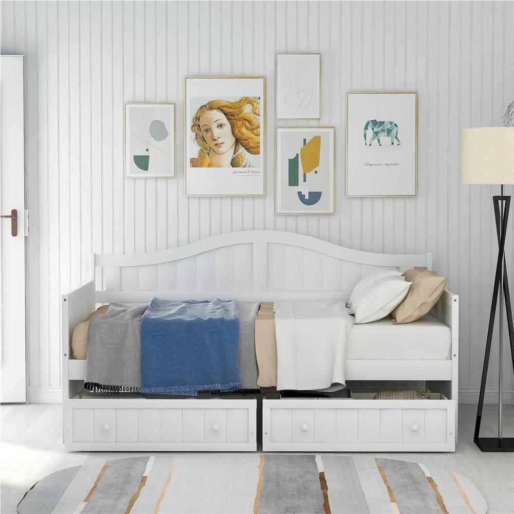 Lit de repos plateforme en bois double avec 2 tiroirs de rangement et support à lattes en bois - Blanc
