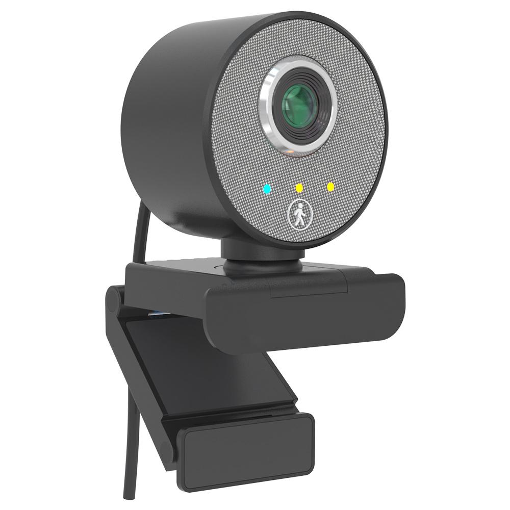 W66 1080P PC Camera AI humanoid Αυτόματη παρακολούθηση Webcam Super WDR Διπλό μικρόφωνο USB Κάμερα Web - Μαύρο