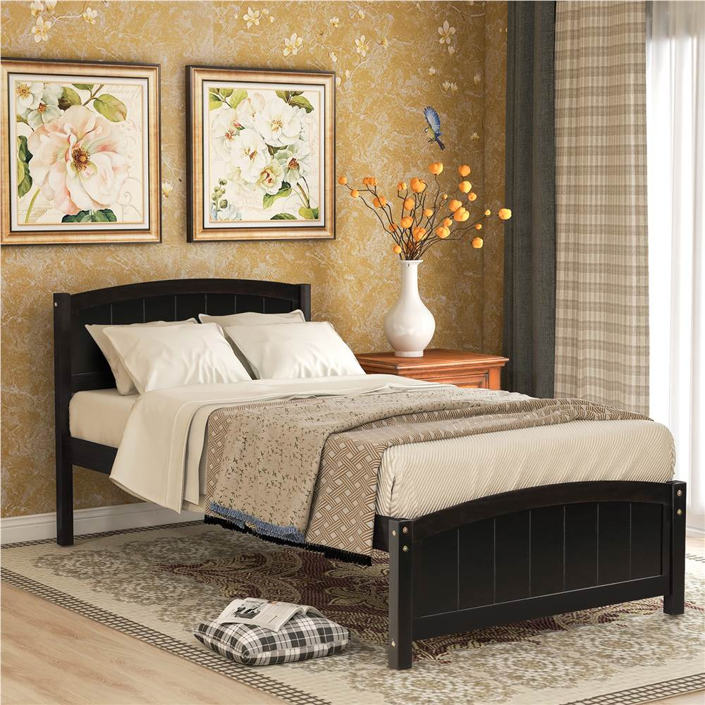 Cadre de lit plateforme en bois simple avec tête de lit, pied de lit et support de lattes en bois - Espresso