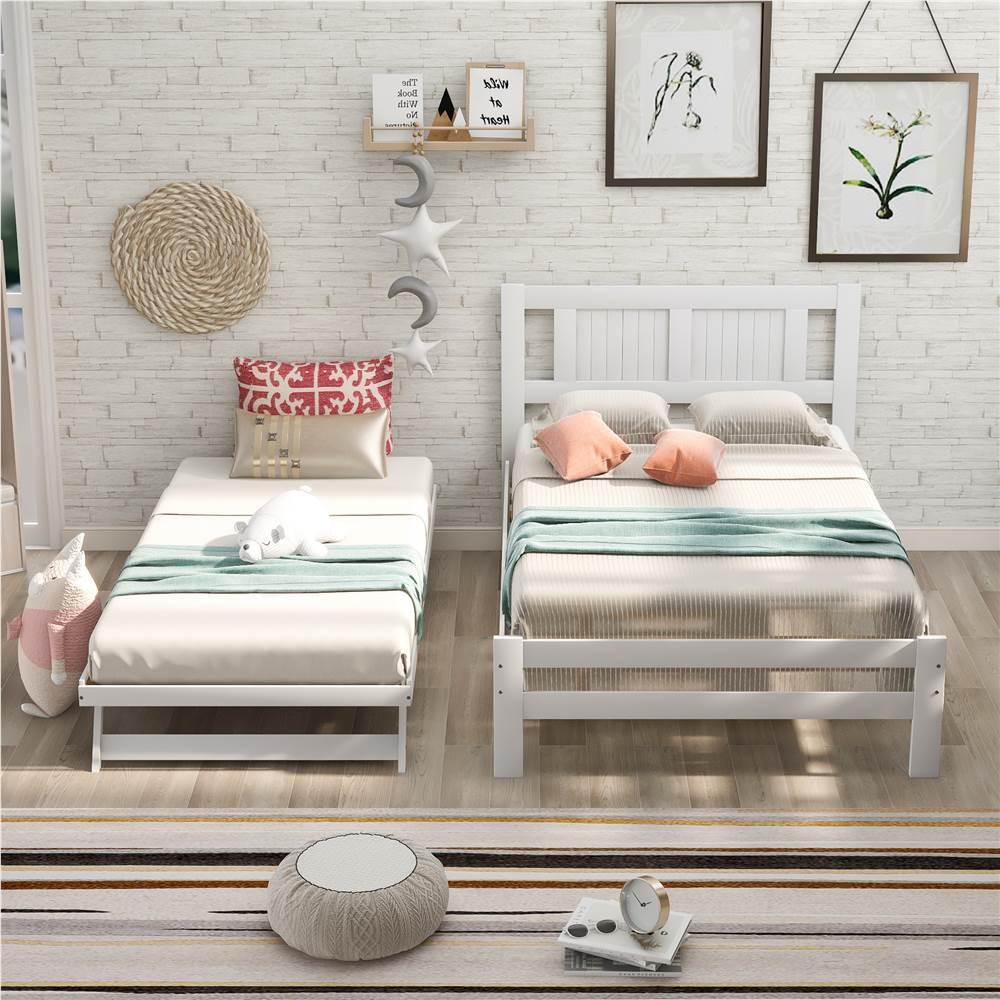 調節可能なキャスター付きベッドと木製のスラットサポートを備えたフルサイズの木製プラットフォームベッドフレーム、ボックススプリングは不要-ホワイト