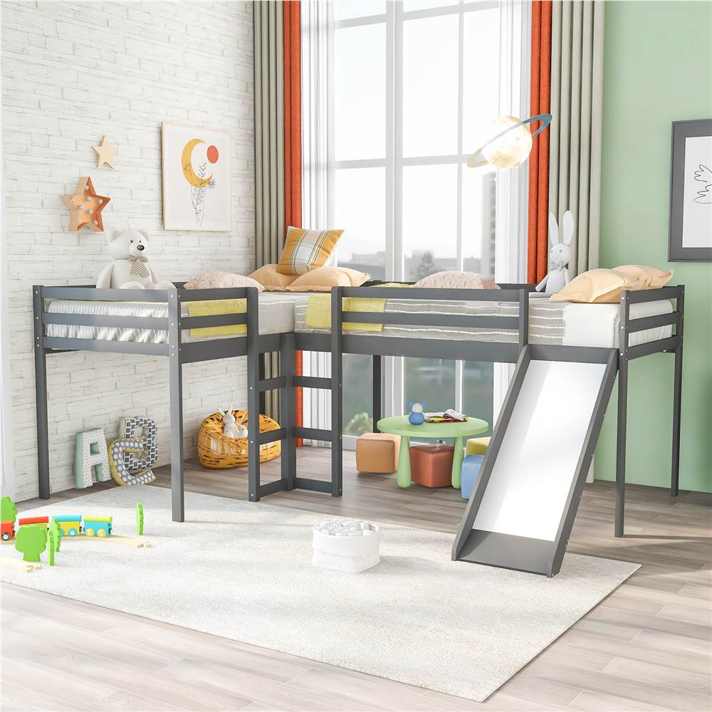 Twin-Size Wooden L-Shaped Loft Bed Frame with Ladder, Slide, and Wooden Slat Support, No Need for Box Spring - Gray