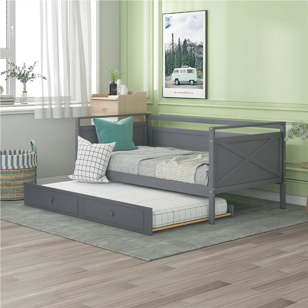 Twin-Size Wooden Daybed  Frame with Trundle Bed and Wooden Slat Support, No Need for Box Spring - Gray