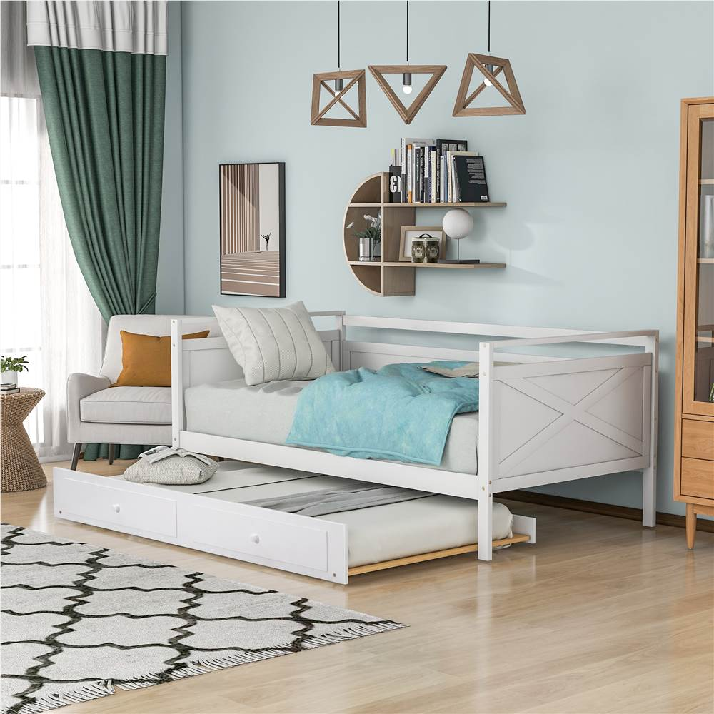 Twin-Size Wooden Daybed  Frame with Trundle Bed and Wooden Slat Support, No Need for Box Spring - White