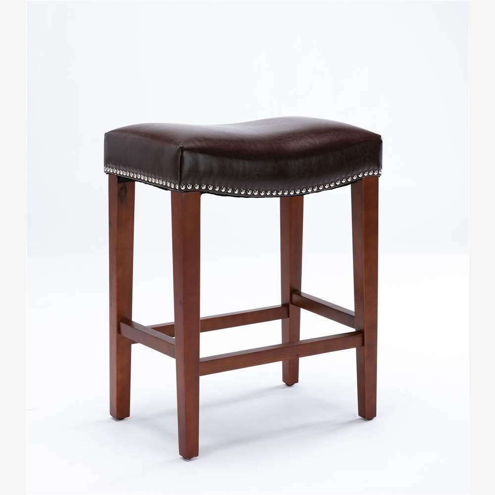 Ensemble de 2 tabourets en cuir, avec pieds en bois, pour cuisine, restaurant, bar, appartement, café - marron