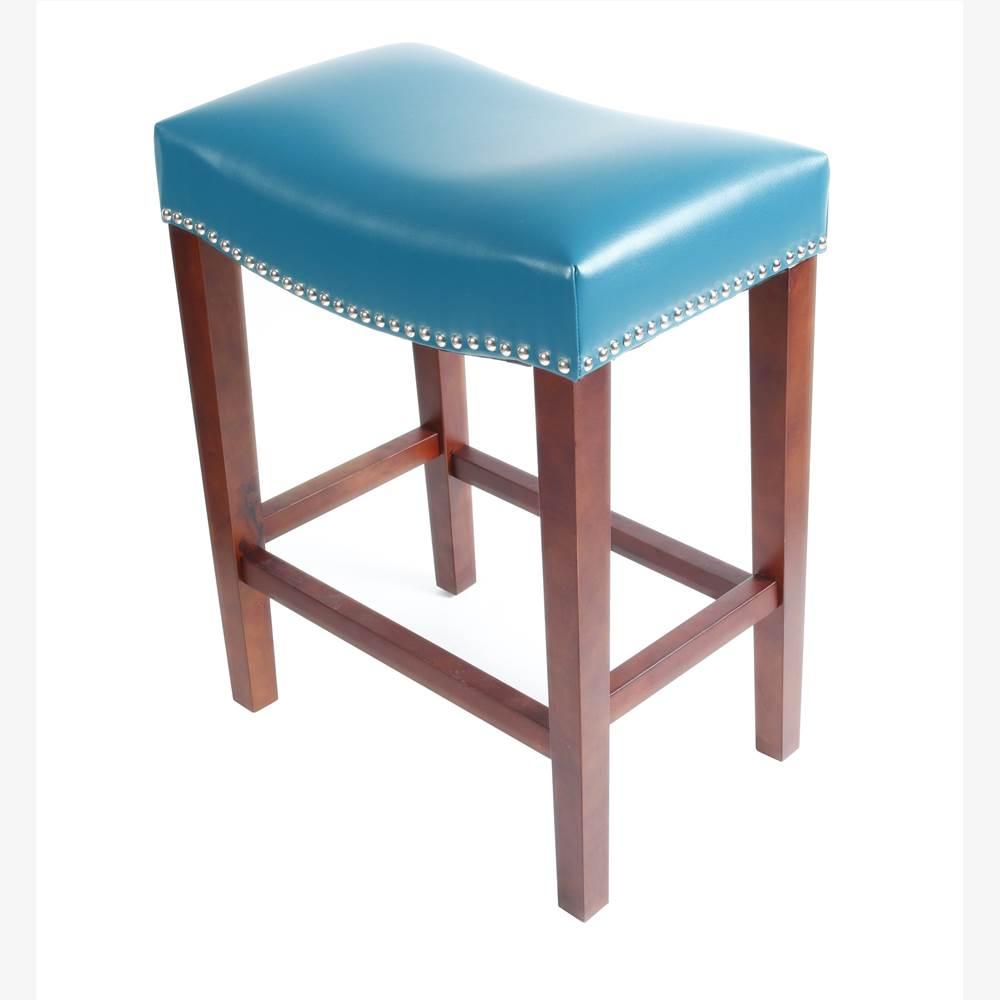 Ensemble de 2 tabourets en cuir, avec pieds en bois, pour cuisine, restaurant, bar, appartement, café - bleu
