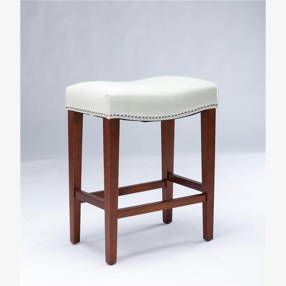 Ensemble de 2 tabourets en cuir, avec pieds en bois, pour cuisine, restaurant, bar, appartement, café - blanc