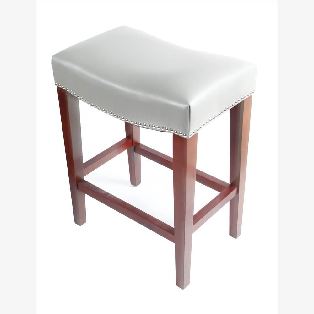 Ensemble de 2 tabourets en cuir, avec pieds en bois, pour cuisine, restaurant, bar, appartement, café - gris