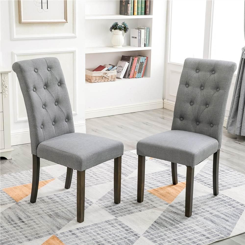 Orisfur Style aristocratique chaise de salle à manger capitonnée en bois massif lot de 2, pour cuisine, salon, café, salle de réception - gris